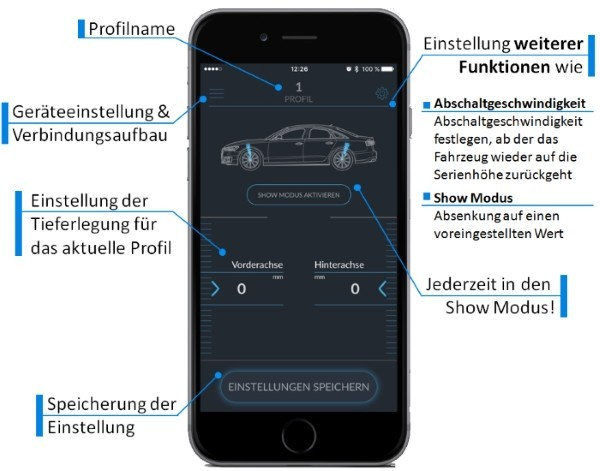 Active Suspension Control via Bluetooth über die App am Handy einstellen 11